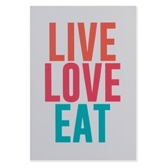 Placa Decorativa em Madeira 20x29cm Live Love Eat - Casa Etna