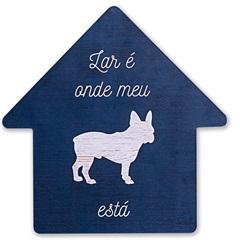 Placa Decorativa em Madeira Formato Casa Cachorro 27cm - Casa Etna