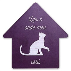 Placa Decorativa em Madeira Formato Casa Gato 27cm - Casa Etna