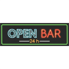 Placa Decorativa em Mdf Open Bar 24 Horas 10x30cm - Kapos