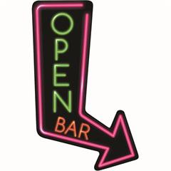 Placa Decorativa em Mdf Seta Open Bar 15x30cm - Kapos