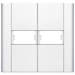 Placa para 2 Módulos Horizontais 4x4 Modulare Branca - Fame