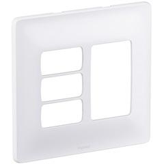 Placa para 3 Postos Separados + 3 Postos Juntos Zeffia 4x4'' Branca - Pial Legrand