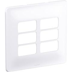 Placa para 6 Postos Separados Zeffia 4x4'' Branca - Pial Legrand