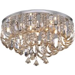 Plafon Arcos de Cristal Champanhe para 9 Lâmpadas - Hevvy