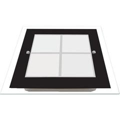 Plafon em Vidro Quadrado para 1 Lâmpada Módena 30cm Preto - Auremar