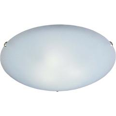 Plafon em Vidro Redondo para 2 Lâmpadas Clean 30cm Branco E Cromado - Bronzearte