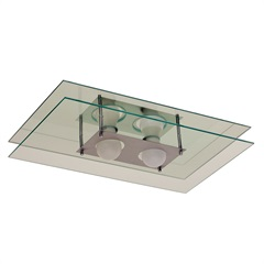 Plafon em Vidro Retangular para 2 Lâmpadas 50x30cm Espelhado - Pantoja & Carmona