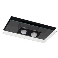 Plafon em Vidro Retangular para 2 Lâmpadas 50x30cm Preto - Pantoja & Carmona
