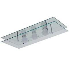 Plafon em Vidro Retangular para 3 Lâmpadas 60x30cm Espelhado - Pantoja & Carmona