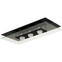 Plafon em Vidro Retangular para 3 Lâmpadas 60x30cm Preto - Pantoja & Carmona