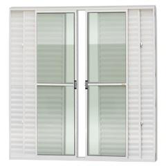 Porta Balcão Central com 6 Folhas em Alumínio Super 25 210x200cm Branca - Brimak