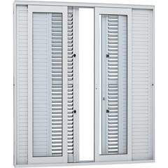 Porta Balcão de Correr Central Multiflex Aluminium com 6 Folhas 216x200cm Branca - Sasazaki