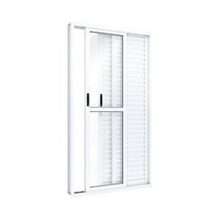 Porta Balcão de Correr Lateral em Aluminio 213x120x12cm Esquerda - Riobras