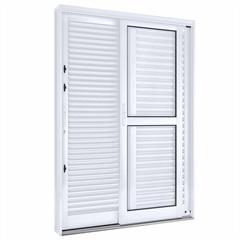 Porta Balcão Lateral Flex de Correr com 3 Folhas Direita Facilità 215x150cm Branca - Lucasa