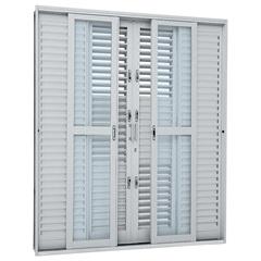 Porta Balcão Veneziana de Correr Central Prátika Multiflex 217x200cm Branca