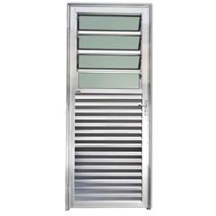Porta Basculante Direita com Vidro em Alumínio Linha 25 210x80cm Brilhante - Brimak