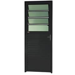 Porta Basculante Direita com Vidro em Alumínio Linha 25 210x80cm Preta - Brimak