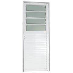 Porta Basculante Esquerda com Vidro em Alumínio Linha 25 210x80cm Branca - Brimak