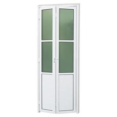 Porta Camarão Direita com Lambri E Vidro em Alumínio Linha 25 210x60cm Branca - Brimak