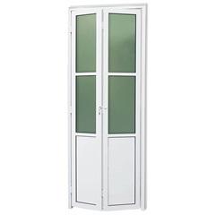 Porta Camarão Direita com Lambri E Vidro em Alumínio Linha 25 210x70cm Branca - Brimak