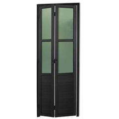 Porta Camarão Direita com Lambri E Vidro em Alumínio Linha 25 210x70cm Preta - Brimak