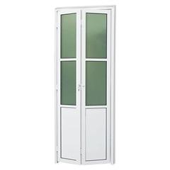 Porta Camarão Direita com Lambri E Vidro em Alumínio Linha 25 210x80cm Branca - Brimak