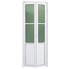 Porta Camarão Esquerda com Lambri E Vidro em Alumínio Linha 25 210x70cm Branca - Brimak