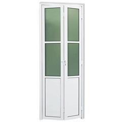 Porta Camarão Esquerda com Lambri E Vidro em Alumínio Linha 25 210x80cm Branca - Brimak