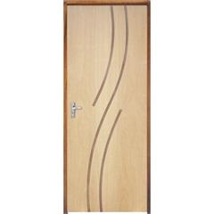 Porta com Miolo Semi Oco Montada Direita Curupixá Frisada 210x82cm - Sidney Esquadrias