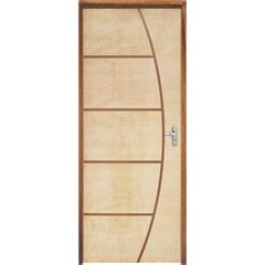 Porta com Miolo Semi Oco Montada Esquerda Curupixá Frisada 210x72cm - Sidney Esquadrias