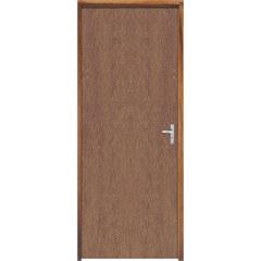 Porta com Miolo Semi Oco Montada Esquerda Imbuia Lisa 210x62cm Natural - Sidney Esquadrias