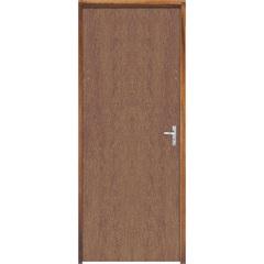 Porta com Miolo Semi Oco Montada Esquerda Imbuia Lisa 210x72cm Natural - Sidney Esquadrias