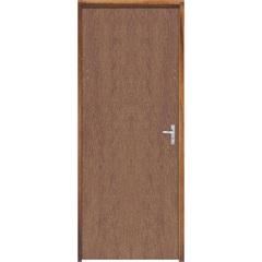 Porta com Miolo Semi Oco Montada Esquerda Imbuia Lisa 210x82cm Natural - Sidney Esquadrias