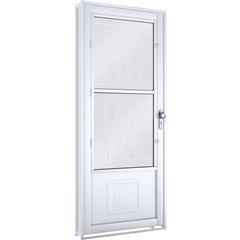 Porta com Postigo E Grade Mosaico Direita Facilità 215x90cm Branca - Lucasa