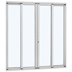 Porta de Correr Central Alumínio 4 Folhas 216x250cm Branca - Sasazaki