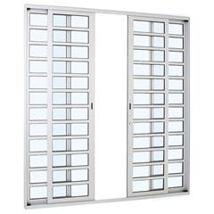 Porta de Correr Central com Divisão Horizontal Alumifort 216x250cm Branca - Sasazaki
