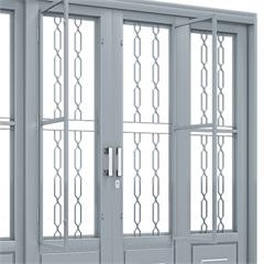 Porta de Correr Central com Postigo E Grade Mosaico 2,14x2,00x14 Ref.1076.0 - Lucasa