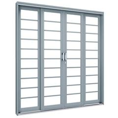 Porta de Correr Central com Travessa Premium 213x200cm Cinza - Lucasa