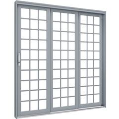 Porta de Correr Direita Quadrada Premium 213x150cm Cinza - Lucasa