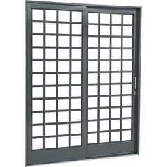 Porta de Correr Direita Quadriculada Belfort 217x160cm Cinza - Sasazaki