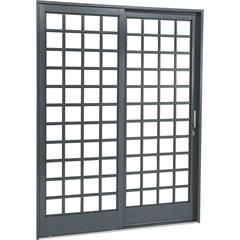 Porta de Correr Direita Quadriculada Belfort 217x160cm Cinza