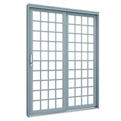 Porta de Correr em Aço Lateral Direita 2 Folhas Quadradas 213x160cm Cinza - Lucasa