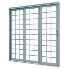 Porta de Correr em Aço Lateral Esquerda 3 Folhas Quadradas 213x200cm Cinza - Lucasa