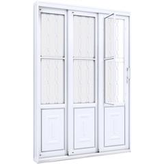 Porta de Correr Esquerda com Grade Mosaico Facilità 213x150cm Branca - Lucasa
