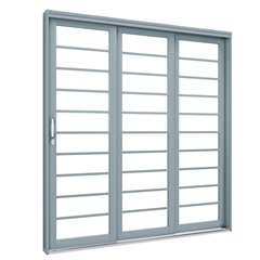 Porta de Correr Esquerda Premium 213x150cm Cinza - Lucasa