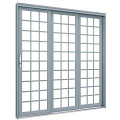 Porta de Correr Esquerda Quadrada Premium 213x150cm Cinza - Lucasa