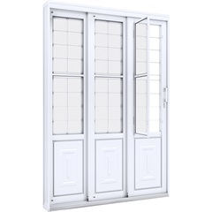 Porta de Correr Lateral em Aço com Postigo E Grade Quadrada 213x150cm Branca - Lucasa