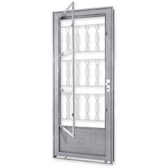 Porta de Giro em Aço Direita com Postigo E Grade Mosaico 215x90 Cinza - Lucasa
