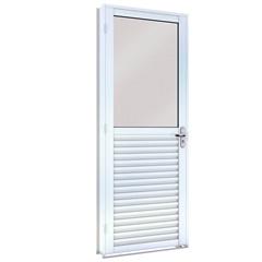 Porta de Giro em Aço Mista Esquerda com Vidro Inteiro 215x86cm Branca - Lucasa